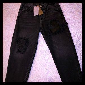 Distressed Zara Man Black Jeans Regular Fit